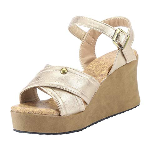 Other-sey Women Shoes Solid Wedges Rubber Summer Fashion Sandals Buckle Strap Wedges Retro Peep Toe Sandals Gold