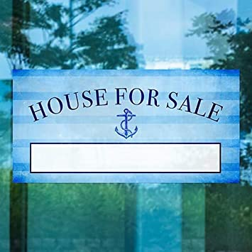 Nautical Stripes Window Cling CGSignLab House for Sale 24x12 5-Pack