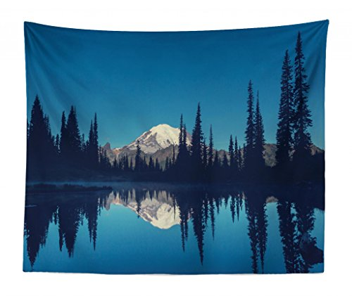 Lunarable National Parks Tapestry King Size, Mountain Night Mystic Hiking Climbing Calm Washington Countryside Rustic, Wall Hanging Bedspread Bed Cover Wall Decor, 104 W X 88 L Inches, Dark Blue