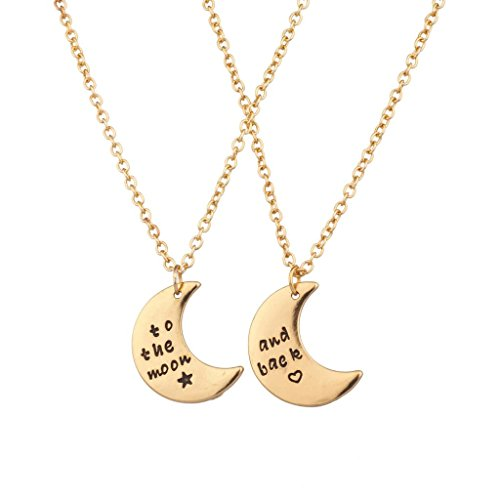 Lux to The Moon & Back BFF Star Crescent Celestial Valentine Heart Best Friends Forever Necklace Set 2PC (Stevie Nicks Moon Necklace)