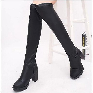 Pu Boots Casual Winter Chunky Shoes CN39 Women'S EU39 The US8 UK6 RTRY Fall For Heel Fashion Black Knee Boots Boots Over Ex0SRqZ