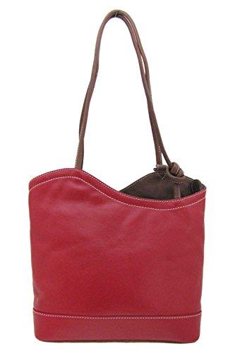 Italian Design Leather Convertible Shoulder Backpack Handbag (Red/ Toffee)