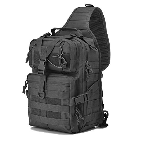 AXEN Tactical EDC Sling Bag Pack, Military Rover Shoulder Molle Backpack, with USA Flag Patch, Black