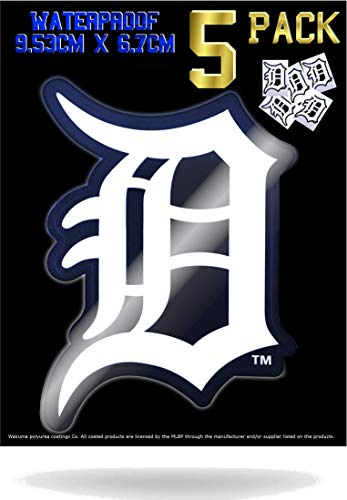 - 5 Pack Detroit Tigers Vinyl Decal Stickers | Waterproof & UV Resistant Ideal for Cars | Decorate Baseball Gear Team Helmet Cornhole Hard Hat Lunchbox Phone Case Laptop Wall Mug Cup Gift Box