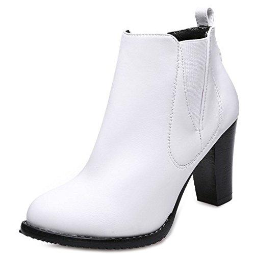 RAZAMAZA Women Comfort Block High Heel Pull on Chelsea Boots SM White dvKVbQEq