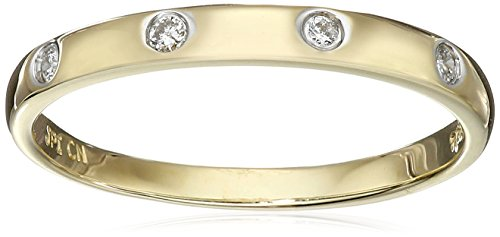 Yellow Diamond Accent - 10k Yellow Gold Diamond Accent Band, Size 7