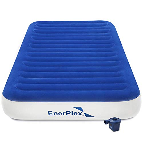 EnerPlex 2019 Luxury Camping Twin Size Air Mattress Twin Camping Airbed with High Speed Wireless Pump Single High Inflatable Blow Up Bed for Home Camping Travel 2-Year Warranty