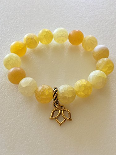 Crackle Chest - Yellow Agate Bracelet, Sunny Matte Yellow Crackle Agate, Semi-Precious Gemstone, Lotus Flower Bracelet, Healing Bracelet, Stretch Bracelet.