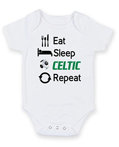 3ab478293bc Celtic Eat Sleep Repeat – Football Fan Baby Grow Vest Bodysuit (6-9 months)  A perfect Gift for Xmas, Birthday, Christening, Party, present
