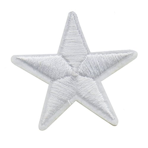 PACK of 24 White Star Iron on Embroidered Applique Patch ()