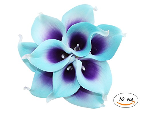Apol Bunch of 10 Artificial Calla Lily Flower Bouquet for Wedding Party Home Garden Restaurant Decoration Valentine Gifts (Blue Purple)