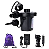 Rongyuxuan Electric Air Pump for Inflatables, Portable Quick-Fill AC DC Inflator Deflator Pump for Air Mattresses Beds Boats Swimming Ring Inflatable Pool Toys, with 3 Nozzles, Carrying Bag, 110-240 V