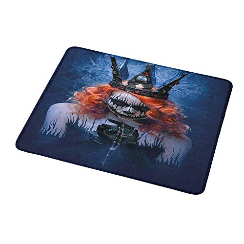 Gaming Mouse Pad Custom Queen,Queen of Death Scary Body Art Halloween Evil Face Bizarre Make Up Zombie,Navy Blue Orange Black,Non-Slip Personalized Rectangle Mouse pad 9.8