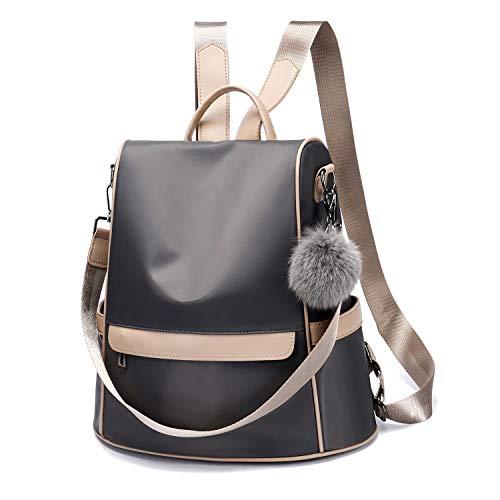 (Women Backpack Purse Nylon Anti-theft Fashion Casual Lightweight Travel Shoulder Bag(Grey Large))