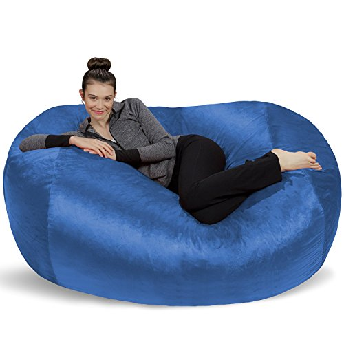(Sofa Sack - Plush Bean Bag Sofas with Super Soft Microsuede Cover - XL Memory Foam Stuffed Lounger Chairs for Kids, Adults, Couples - Jumbo Bean Bag Chair Furniture - Royal Blue 6')