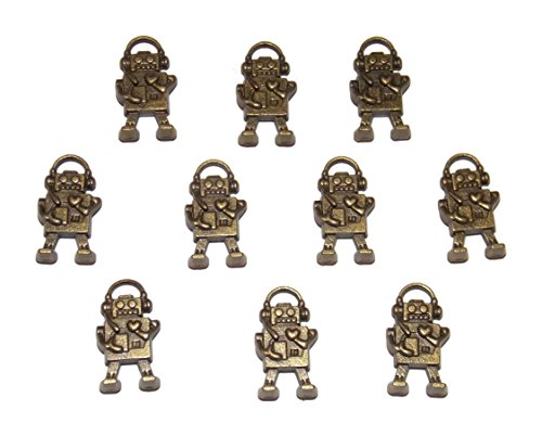 10 Pack of Robot Style Charms – Old School Geekery TM Brand Jewelry Making Charms for Geek Nerd Designs (Style Robot)
