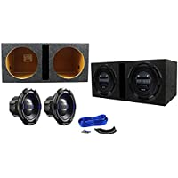 "Package: (2) Hifonics BRX12D4 Brutus 12 Dual 4-Ohm 900 Watts Peak / 450 Watts RMS Car Subwoofers + Rockville RDV12 Dual 12"" 1.55 cu.ft. Vented Subwoofer Enclosure + Dual Enclosure Wire Kit With 14 Gauge Speaker Wire + Screws + Spade Terminals"