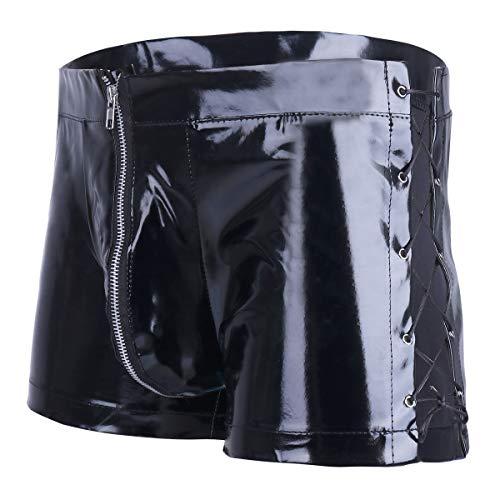 Freebily Men Wet Look Leather Shorts Boxer Trunks Briefs Lace up Jockstrap Underwear Black Large (Waistline 31.5