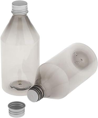 SM SunniMix 2X 300ml Vacía Botella de Plástico Recipientes de Líquido Envase de Crema Estuche de Loción Organizador - Gris + Plata: Amazon.es: Hogar