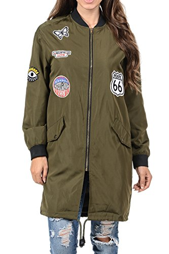 Auliné Collection Womens Lightweight Long Patched Windbreaker Bomber Jacket Olive M by Auliné Collection