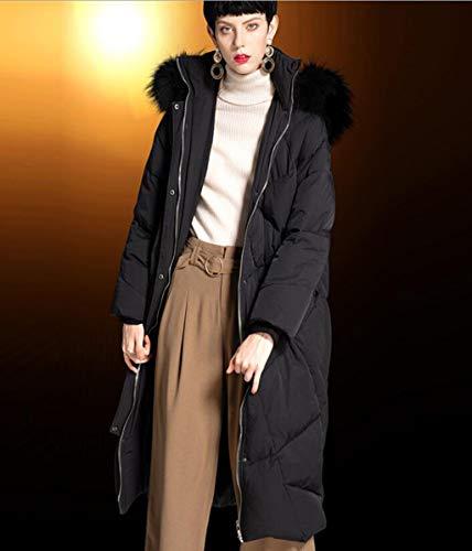 Nero Jbhurf Donna Alto Cappuccio Con Piumino Da L Nero E colore Collo Largo Dimensioni qOOfF