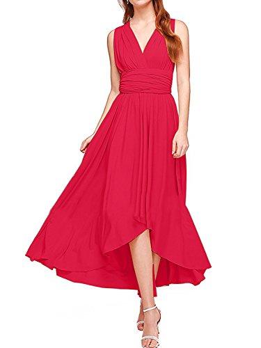 Women's Transformer Infinity Hi-Low Dress Multi-Way Wrap Convertible Maxi Dress Red XL -