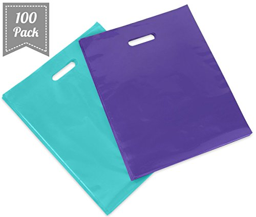 "[ 100 Count, 16"" X 18"" ] Extra Durable Glossy Tiffany Blue and Purple Merchandise Bags, Premium Plastic Retail, Gift, Party, Shopping Bags - PackItChic"