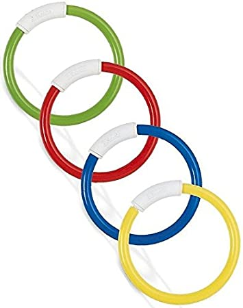 Pack 4 Pool Diving Rings Colour Swim Swimming Underwater Dive Toys Game TY8262