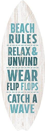 - P. GRAHAM DUNN Beach Rules Relax Unwind Surfboard Shaped 4 x 12 Wood Wall Plaque Sign