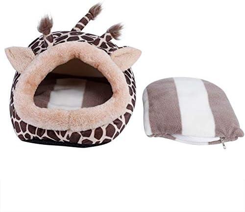 Brocan 暖かく保つハンモックハムスター、ラットのためのかわいいキリン型のペットパッドベッドマット犬小屋