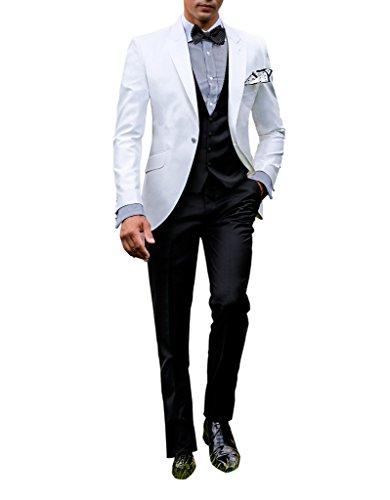 Suit Me Hommes 3 Piece Suit Tuxedo costume de bureau d'affaires pour les mariages Party Jackets Vest Pantalon blanc 5XL