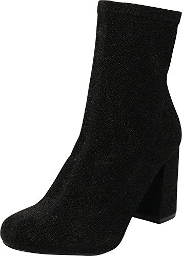 Socks Ankle Heels - Cambridge Select Women's Closed Round Toe Stretch Fabric Sock Chunky Block Heel Ankle Bootie,8 B(M) US,Black Glitter