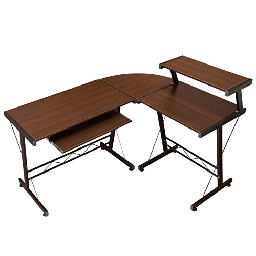 Modern Durable L Shape Computer Desk Workstation Great for Office , Home Office , Dorm Room ,Brown with Black Frame