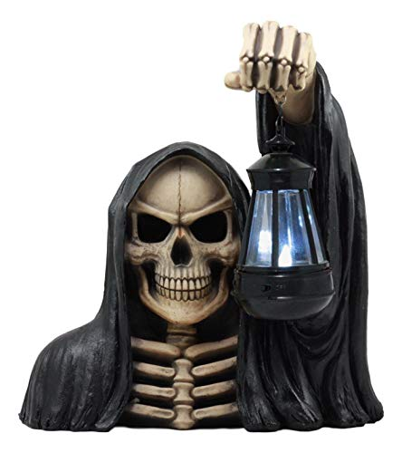 ShopForAllYou Figurines and Statues Large Grim Reaper Statue with Solar Lantern LED Light Halloween -