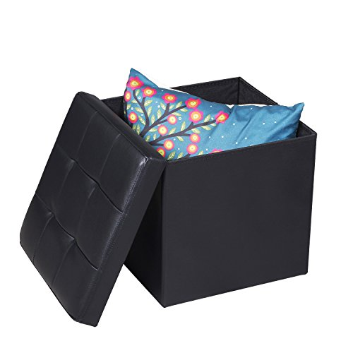 EPCTEK Storage Ottoma Leather Folding Stool,Storage Cube Basket Bins Organizer Containers, Coffee Table Cube, Camping Fishing Stool, Quick and Easy Assembly, Perfect for Child,15''x15''x15''Cube.(Black) by EPCTEK (Image #1)