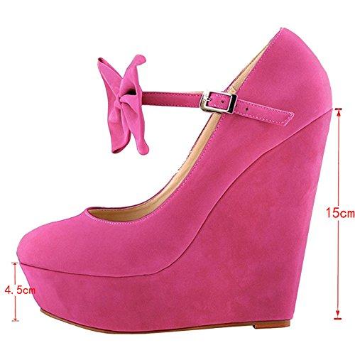 EKS - Zapatos de Tacón Mujer Rojo - rosa