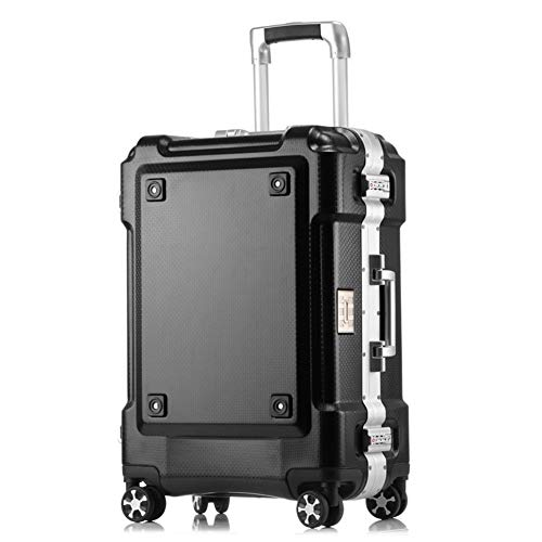 Nuofake 29 Inch High Capacity Travel Bag Creative Aluminum Frame Rolling Luggage Spinner Suitcase Wheels Black Carry On…