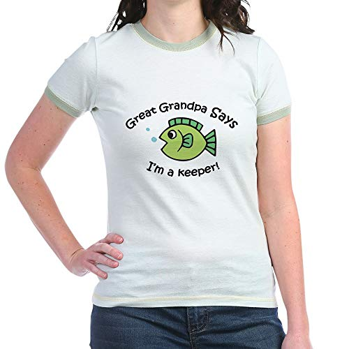 Fish Kids Ringer T-shirt (CafePress Great Grandpa Says I'm A Keeper! Jr. Ringer T Shir Jr. Ringer T-Shirt, Slim Fit 100% Cotton Ringed Shirt Mint/Avocado)
