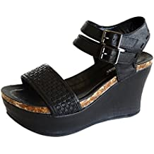 Pierre Dumas Hester-12 Women's Vegan Leather Double-Buckle Rounded-Toe Wedge Sandals