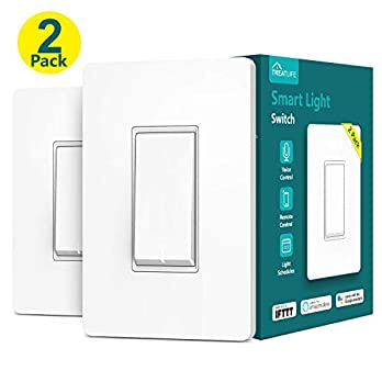 Treatlife Smart Light Switch, Neutral Wire Needed, 2.4Ghz Wi-Fi Light Switch,Works with Alexa, Google Assistant and IFTTT, Schedule, Remote Control, Single Pole, ETL Listed (2 PACK)