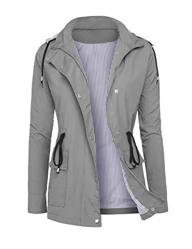 DOSWODE Raincoats Waterproof Rain Jackets Detachable Hooded Striped Lined Windbreaker Women's Trench Coats Grey L
