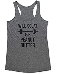 Will Squat For Peanut Butter - funny workout fitness Tri-Blend Racerback Tank