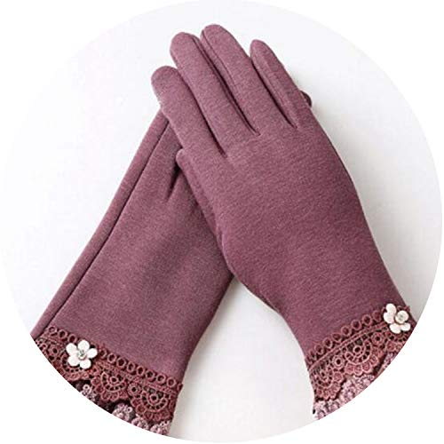 Pro Full Button Style Adult (Women Gloves Winter Cute Button Warm Mitts Full Finger Mittens Women Cashmere Female Gloves,G146 016B Bean Paste,)