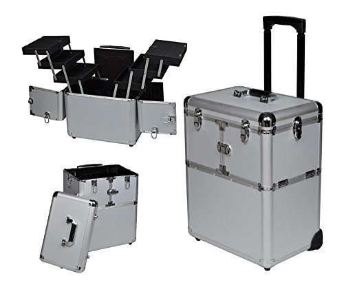 "19"" Makeup Aluminum Rolling Cosmetic Train Case Artist Salon Lockable Box Silver from Unknown"