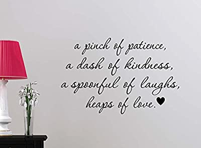 A pinch of patience a dash of kindness a spoonful of laughs love wall mural sticker art kitchen decor saying lettering stencil wall accents