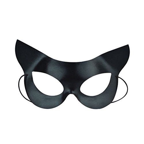 LUOEM Black Eye Half Face Mask Sexy Catwoman Mask Halloween Costumes for Halloween masquerade Costume Party Ball Fancy Dress (Black) ()