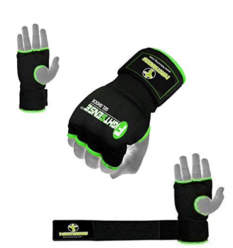 FIGHTSENSE Padded Gel Inner Boxing Gloves for Men and Women with Long Elasticated Hand Wraps for Punching, Boxing, MMA…