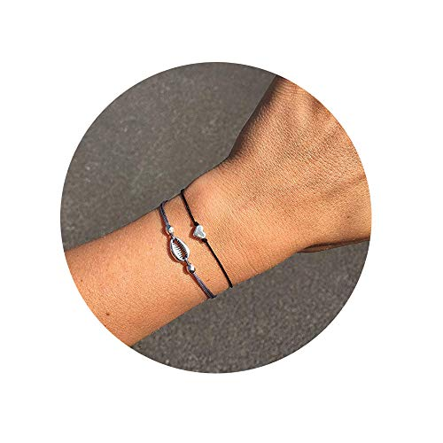 (choice of all CHOA 3 Pcs Summer Surfer Wave Bracelet Adjustable Friendship Bracelet Handcrafted Jewelry Women (J:Heart+Shell))