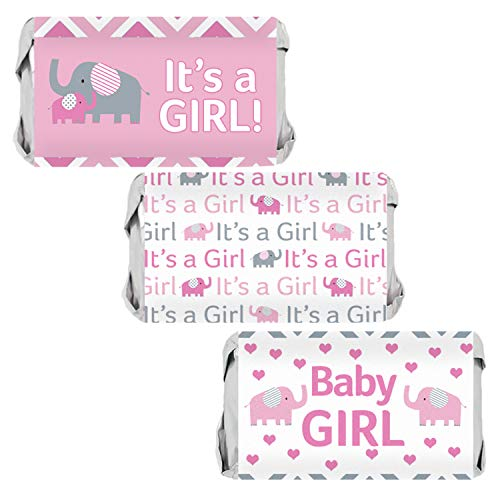 Pink and Gray Elephant Girl Baby Shower Mini Candy Bar Wrappers | 54 Stickers -