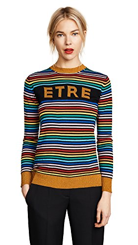 Etre Cecile Women's Etre Boyfriend Crew Knit Sweater, Multi Stripe, Large by Etre Cecile (Image #1)